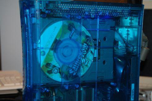 blue see through xbox 360 mod