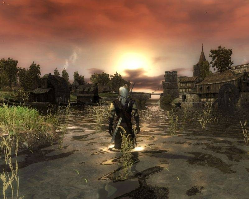 witcher 2 water sunset