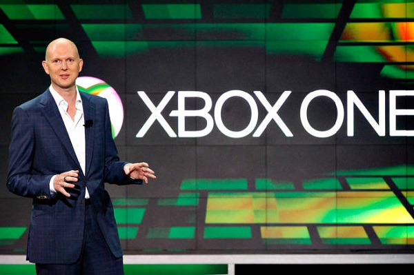Harrison, corporate vice president of Microsoft, speaks during the Xbox E3 Media Briefing at USC's Galen Center in Los Angeles
