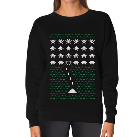 Ugly Christmas Sweater For Gamers Retro Space Invaders